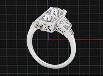 We start any custom jewelry design with a sketch, followed by a CAD design (which is many of the posted photos), followed by the casting of the metal, then setting the stones (either yours or ours) to complete the custom jewelry or custom engagement ring.